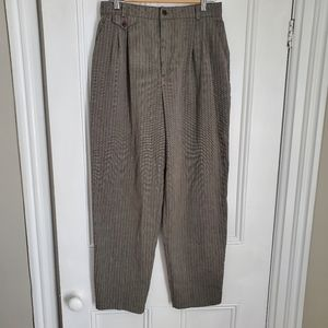 Vintage Grey Plaid Tapered Trousers